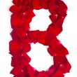 Постер, плакат: Letter B made from red petals rose on white