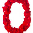 Letter O made from red petals rose on white — Stock Photo