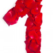 Number 1 made from red petals rose on white — Stock Photo #11963618