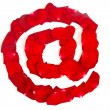 E-mail symbol  made from red petals rose on white — Foto Stock