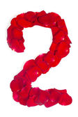 Number 2 made from red petals rose on white — Stock Photo