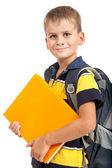 Livros de exploração do rapaz. volta às aulas — Foto Stock