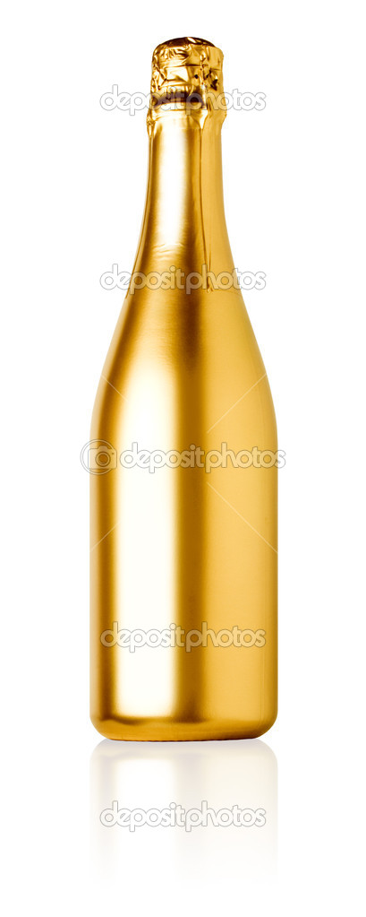 Golden champagne bottle isolated on white background. — Stock Photo #11097848