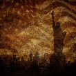 Silhouette statue of liberty on worn background. — Stock Photo