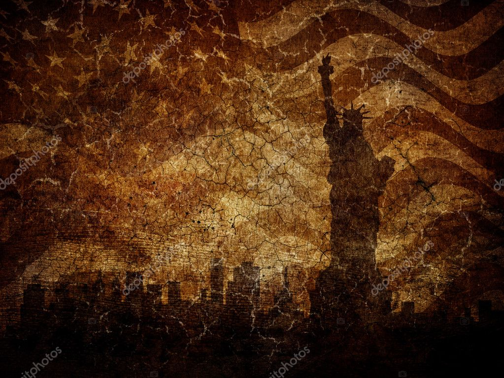 Silhouette statue of liberty on worn background.  Stock Photo #11317524