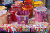 Paints in a painter's studio — Stock Photo