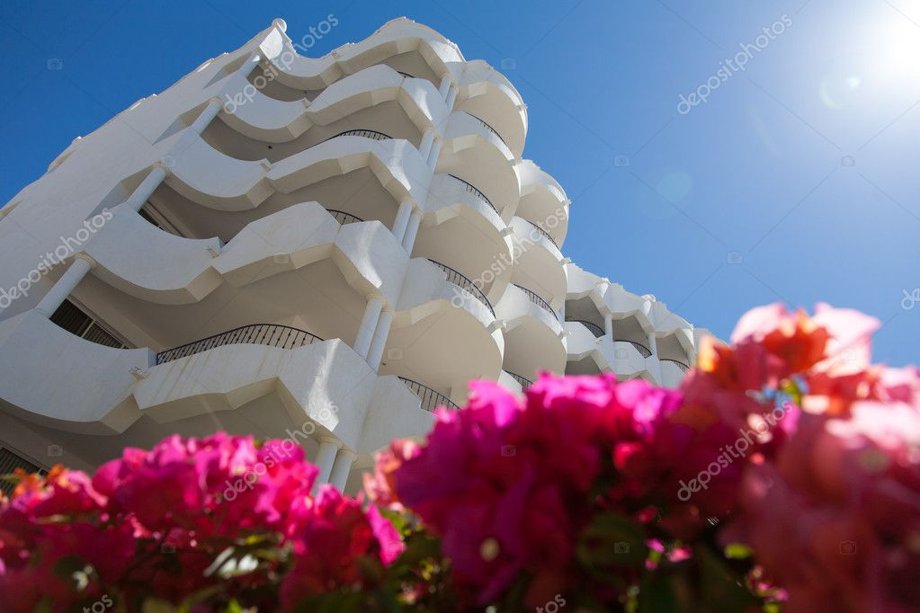 View on a multystoried white building  with luxury apartments on a background with flowers on a foreground. Focus on a background  Stock Photo #11398992