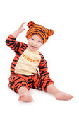 Little boy in tiger costume — Stock Photo