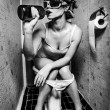 Girl sits in toilet — Stock Photo #11042802