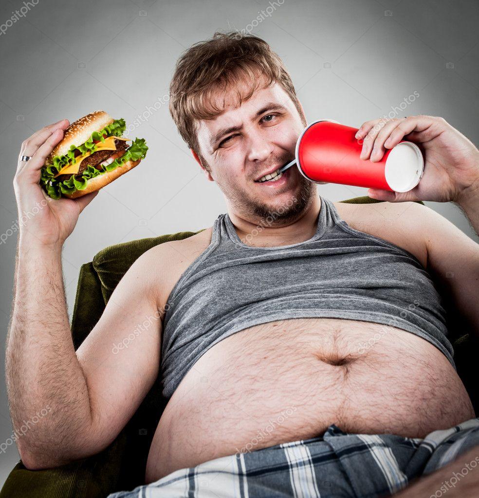 Fat Man Eating Burger