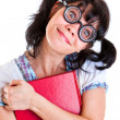 Nerd Student Girl with Textbooks — Stock Photo