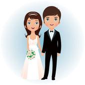 Bruid en bruidegom — Stockvector