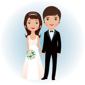 Groom and bride — Vector de stock