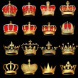 Vector de stock : Set gold crowns on black background