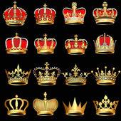 Conjunto de coronas de oro sobre fondo negro — Vector de stock