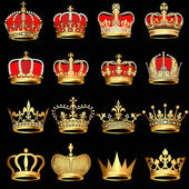 Set gold crowns on black background — Vecteur