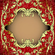 Red background with frame with gold(en)(en) sample — Stock Vector