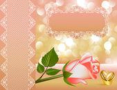 Fondo de novia con rosa con perlas por cinta y anillo — Vector de stock