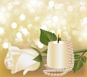 Slavnostní pozadí s bílou růži, perla svíčka — Stock vektor