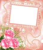 Frame for photo with rose and pearl — Stock Vector