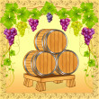 Wooden barrels with wine on background of the grapevine — Stock Vector