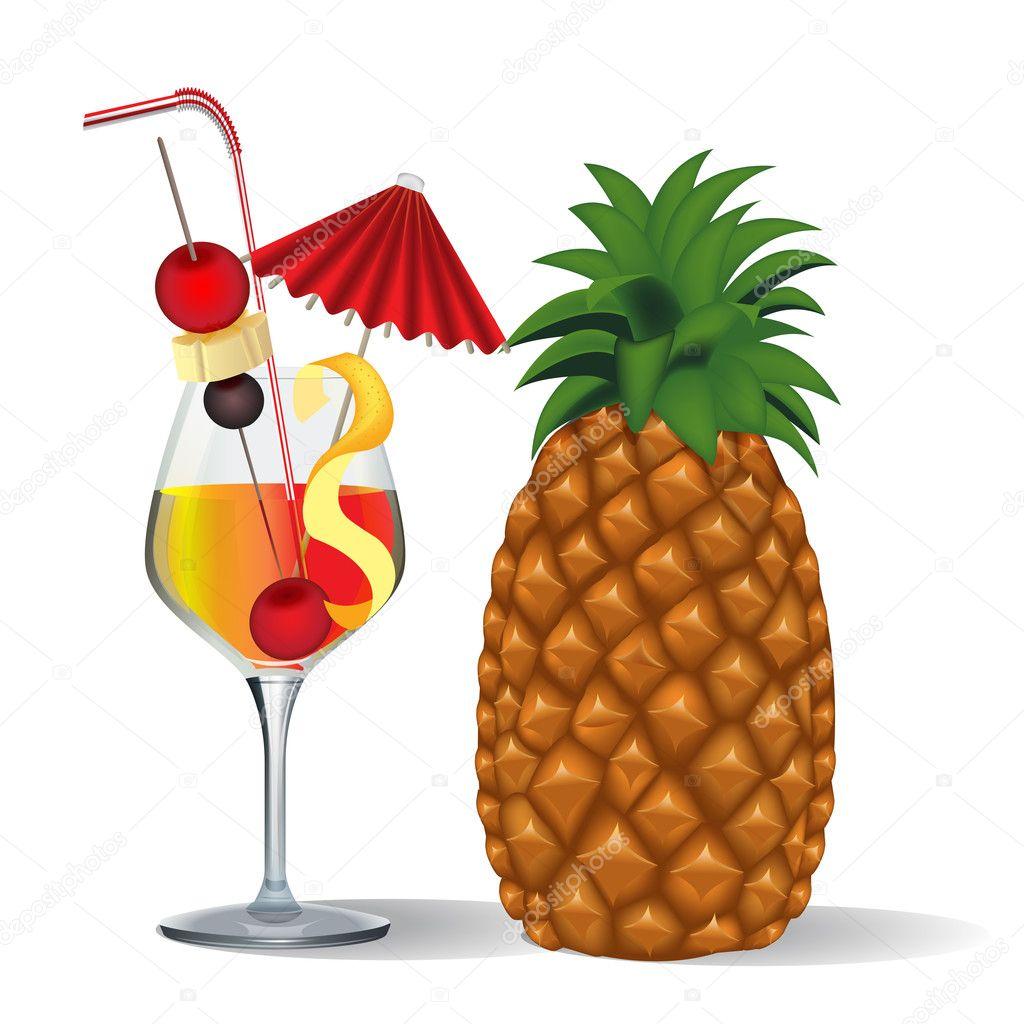 C ctel y frutas en vaso vector de stock yurkina 11364943 for Vasos de coctel
