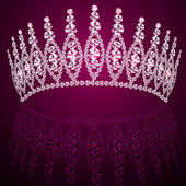 Corona diadem feminine wedding with reflection — Stock Vector