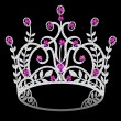 Royalty-Free Stock Vector Image: Corona diadem feminine wedding with ruby on black background