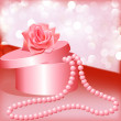 Rose and box with pearl necklace — Stock Vector