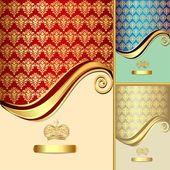 Set background with gold(en) pattern and crown — Vetorial Stock