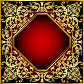 Background frame red with gold(en) pattern — Stock Vector