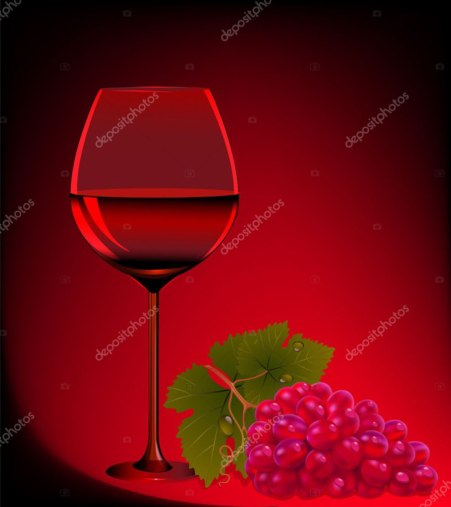 Illustration goblet blame and branch of grape — Stock Vector #11463453