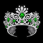 Diadem corona feminine wedding with emerald — Stock Vector
