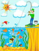 Fisherman has caughted on fishing rod of the diver — Stock Vector