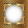 Stock Vector: Background with white frame with gold(en) pattern