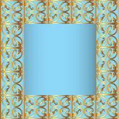 Frame blue background with gold(en)(en) sample — Vector de stock