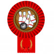 Bowling skittles ball gold medal red tape — Imagen vectorial