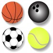 Kit atheletic ball basketball football tennis — Stock Vector