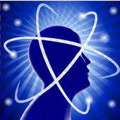 Idea silhouette head man and phosphorescence — Stockvector