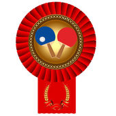 Olympiad of the table tennis to ball gold(en) medal of the red t — Vector de stock