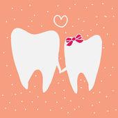 Two teeth in love — Stock Vector