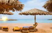 Nádherné sluneční pláž v egypt. — Stock fotografie