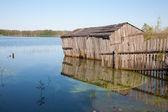 水で木の小屋と農村部の夏の風景 — ストック写真