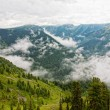 Stock Photo: Foggy morning in mountains. Altai, Siberia.
