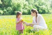Madre con el juego de hija pequeña en un claro con dientes de león — Foto de Stock