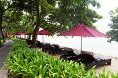 Markýzy od slunce na pláži v bali — Stock fotografie