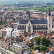 View of the city of Malines (Mechelen) from height of bird's flight, Belgium - Stock Photo