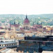 View of Budapest from an observation deck of a basilica of Sacred Stephane - Stock Photo