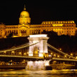 Illuminated Chain Bridge and Royal Palace, Budapest, Hungary — Stock Photo
