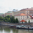 View of Vltava River Embankment in Prague, the Czech republic - Stock Photo